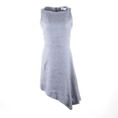 unbalanced gingham midi dress grey